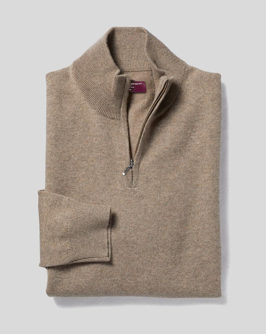 Cashmere Zip Neck Sweater - Mocha