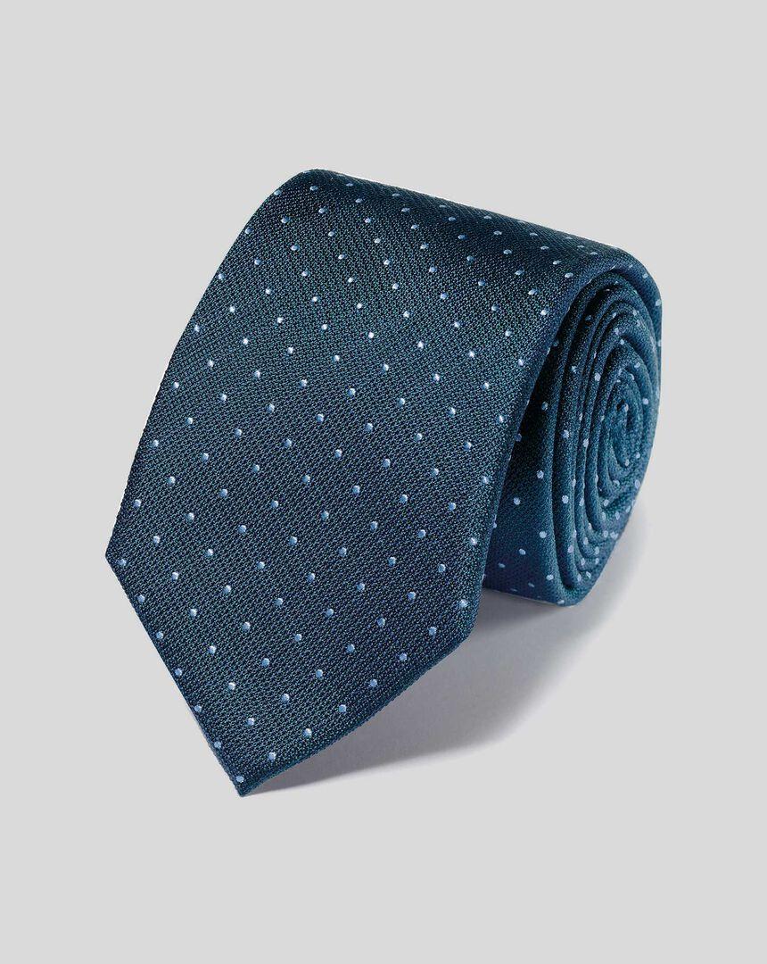 Stain Resistant Silk Textured Spot Tie - Petrol & Sky