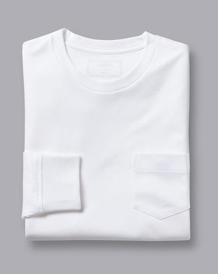 Cotton Long Sleeve Tyrwhitt T-Shirt - White