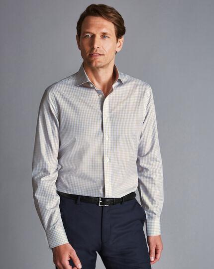 Spread Collar Non-Iron Poplin Check Shirt - Yellow & Grey