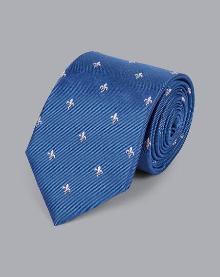 Schmutzabweisende Krawatte aus Seide mit heraldischen Lilien - Blau & Weiß