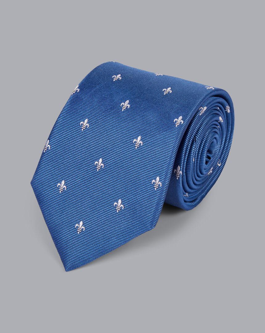 Stain Resistant Silk Fleur-de-lys Tie - Blue & White