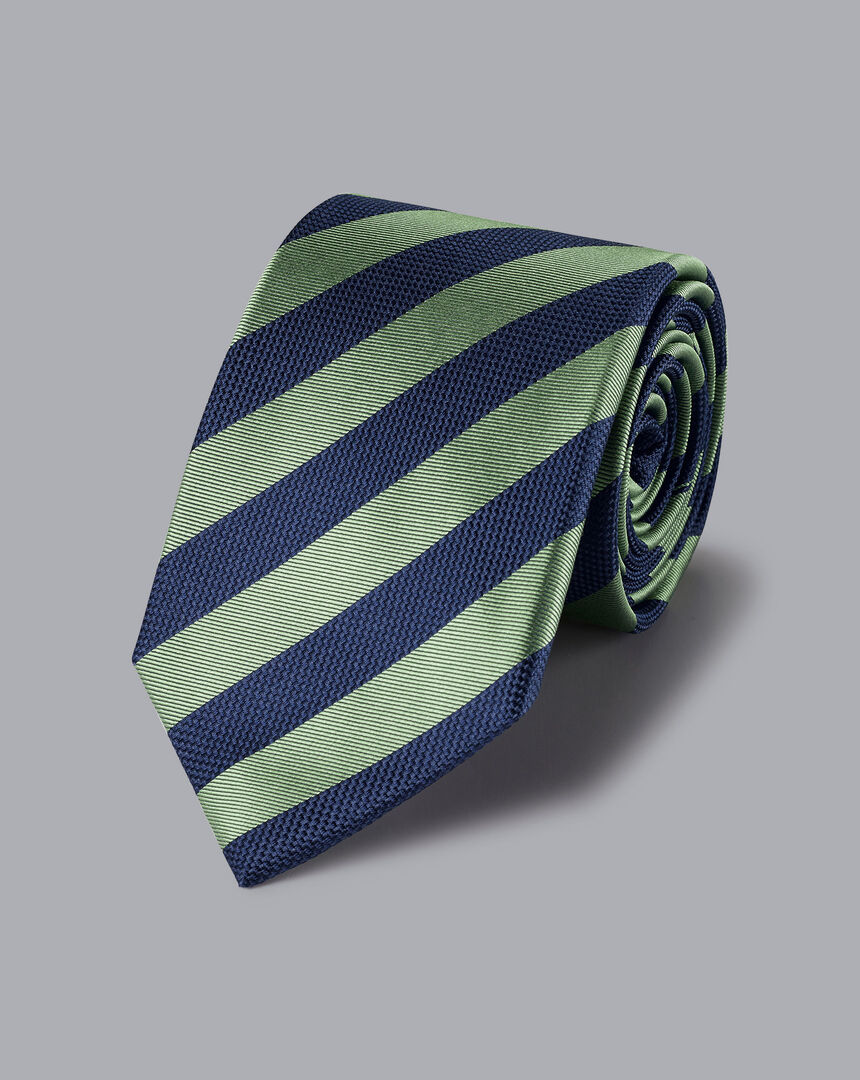 Silk Stripe Classic Tie - Green & Navy