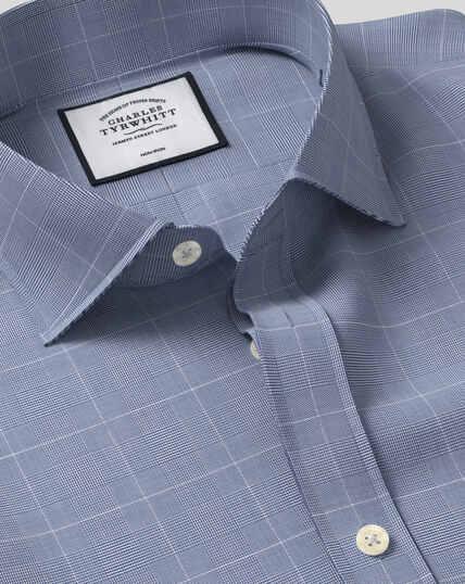 Cutaway Collar Non-Iron Cotton with TENCEL™ x REFIBRA™ Check Shirt - Navy