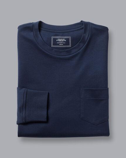 Tyrwhitt Langarm-Shirt aus Baumwolle - Marineblau