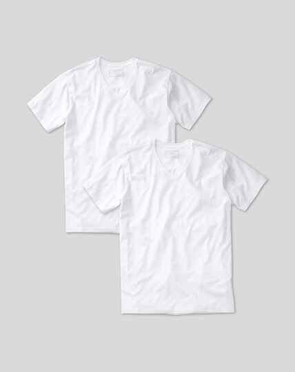 2 Pack V-neck Cotton T-shirt - White