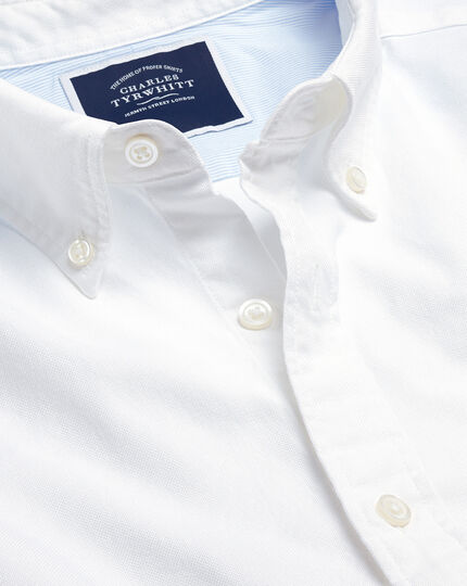 Button-Down Collar Washed Oxford Shirt With Pocket - White