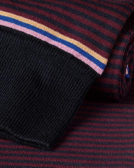 Fine Stripe Socks - Wine & Navy