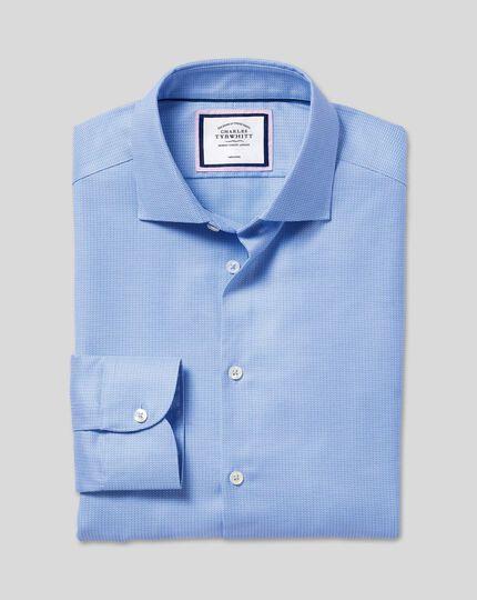 Semi-Cutaway Collar Non-Iron Stretch Texture Shirt - Blue