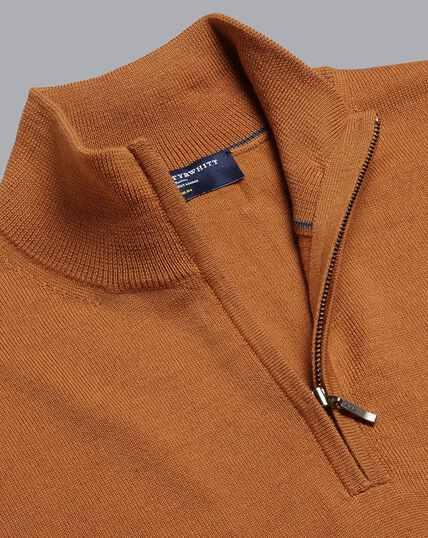 Merino Zip Neck Sweater - Orange