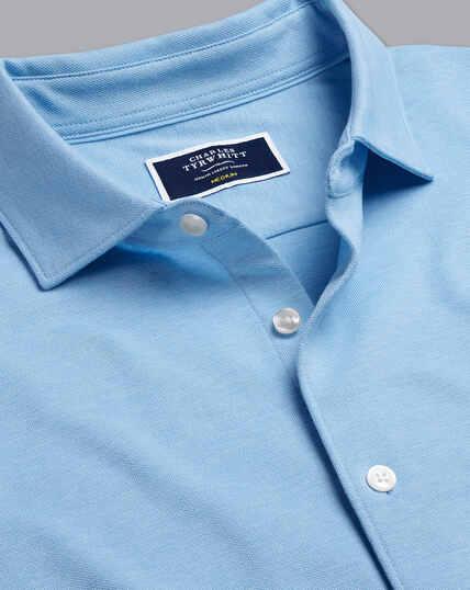 Piqué-Hemd aus Jersey - Himmelblau