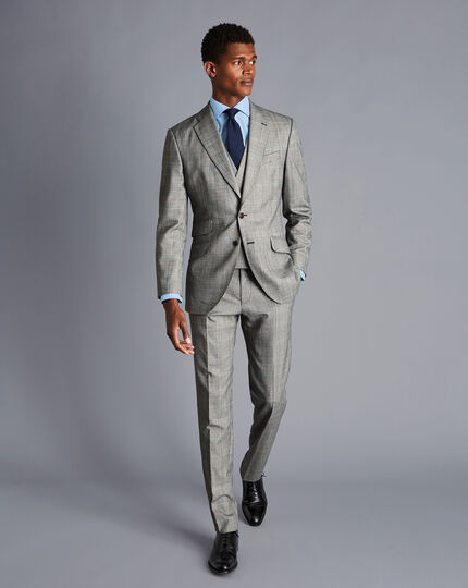British Luxury Prince of Wales Check Suit Pants - Grey