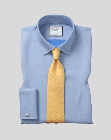 Schmutzabweisende Krawatte aus Seide mit Strukturgewebe und Punkten - Gelb & Himmelblau
