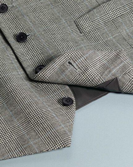 Grey adjutsable fit Prince of Wales check flannel business suit vest