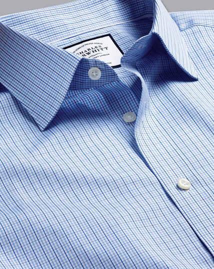 Popeline-Hemd aus ägyptischer Baumwolle mit Semi-Haifischkragen und Gingham-Karos - Himmelblau & Blau