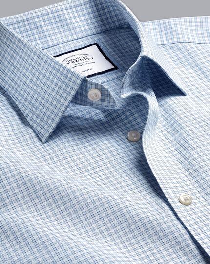 Non-Iron Poplin Fine Check Shirt - Sky Blue