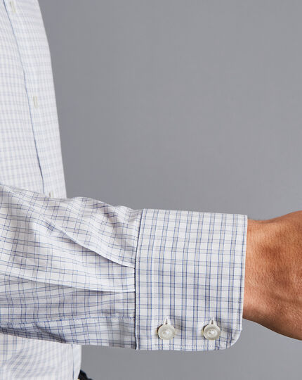 Semi-Cutaway Collar Egyptian Cotton Poplin Check Shirt - Grey