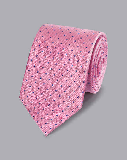 Stain Resistant Silk Textured Spot Tie - Pink & Blue