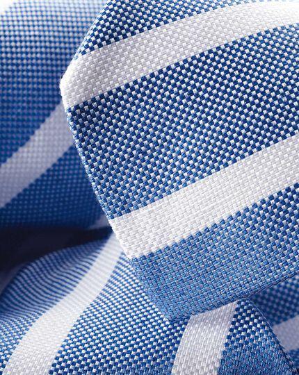 Silk Linen Stripe Tie - Blue & White
