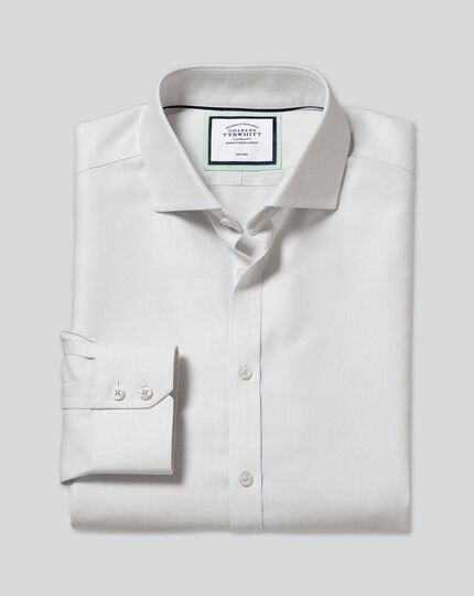 Spread Collar Non-Iron Ludgate Weave Shirt  - Grey
