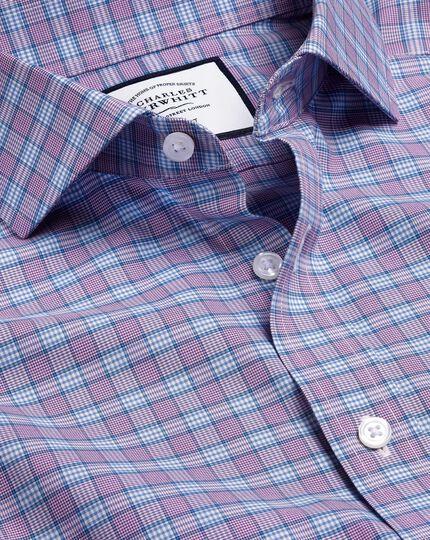 Spread Collar Non-Iron Prince of Wales Check Shirt - Purple & Blue
