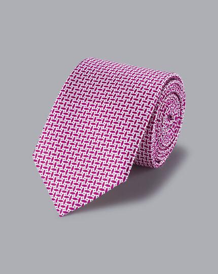 Schmutzabweisende Krawatte aus Seide mit ovalem Muster-Beerenrot&Weiß
