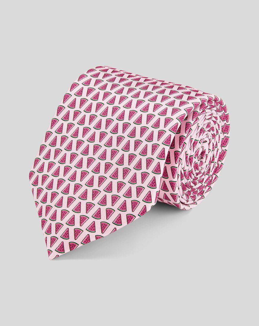 Watermelon Silk Print Tie - Pink
