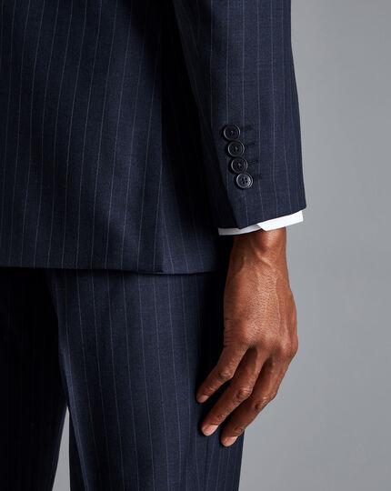 Herringbone Stripe Business Suit Jacket - Navy