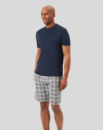 Check Pyjama Shorts - Chalk & Denim Blue