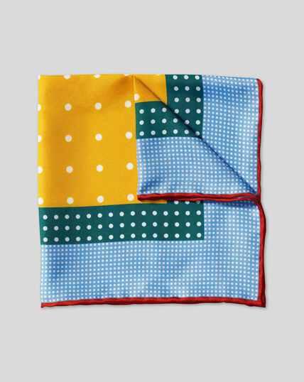Multi Spot Pocket Square - Blue & Gold