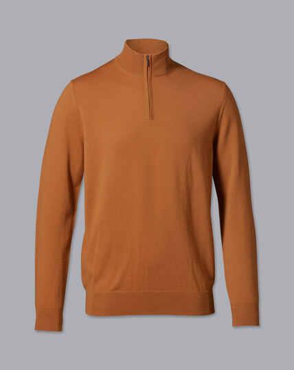 Merino Zip Neck Jumper - Orange