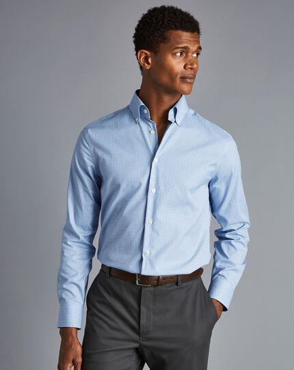 Button-Down Collar Non-Iron Mini Check Shirt - Sky