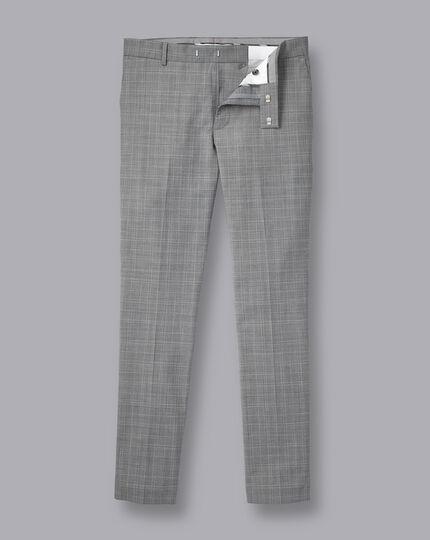 Wool Blend Stretch Check Pants - Light Grey