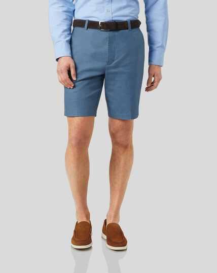 Shorts aus Baumwolle und Leinen - Blau