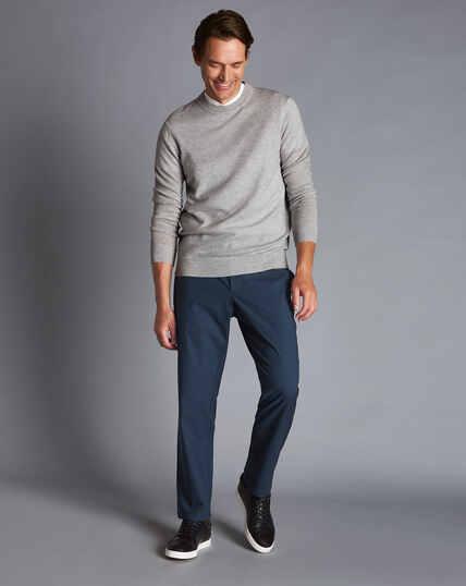 Basketweave Cotton Stretch Trouser  - Navy