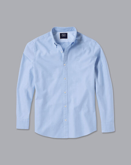 England Rugby Button-Down Collar Washed Oxford Shirt - Sky