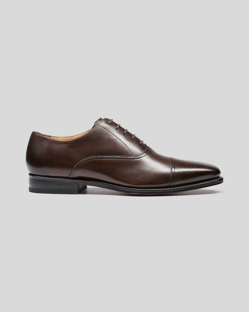 Goodyear Welted Oxford Toe Cap Shoes - Chocolate Brown