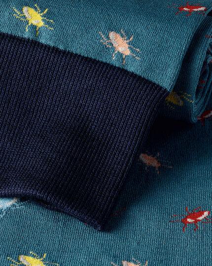 Jacquard Beetle Motif Socks - Teal