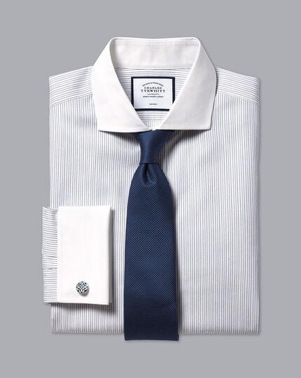 Cutaway Collar Non-Iron Winchester Stripe Shirt - Blue & White