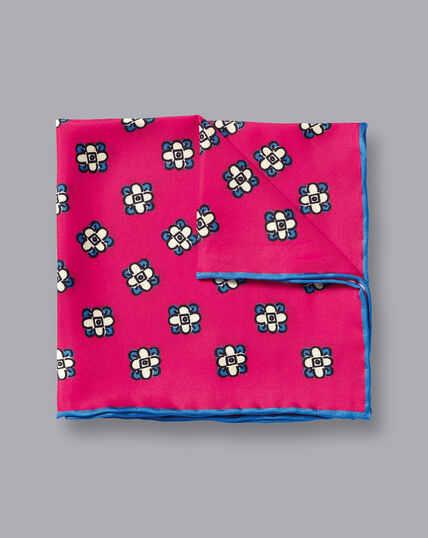 Floral Geometic Print Pocket Square - Bright Pink & Blue