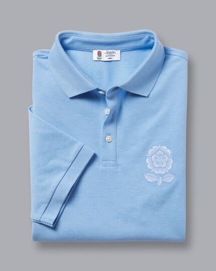 England Rugby Piqué-Polo mit Heritage-Rose - Himmelblau