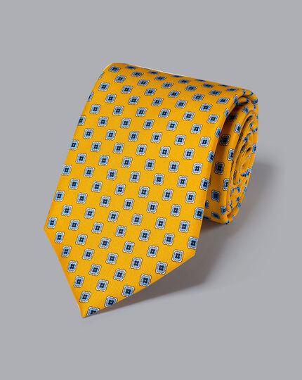 Silk Geometric Print Tie - Gold & Sky