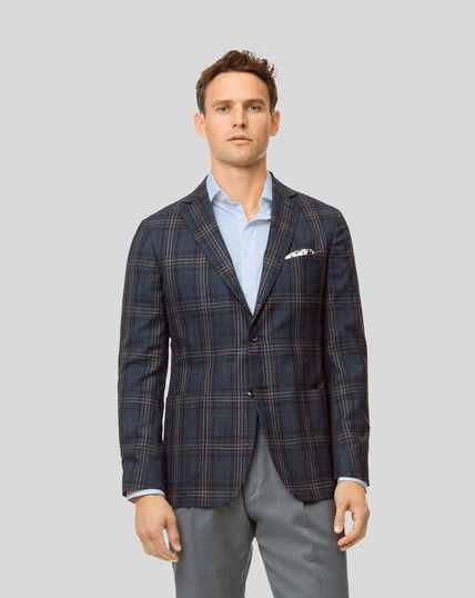 Check Wool Silk Linen Jacket - Blue & Brown