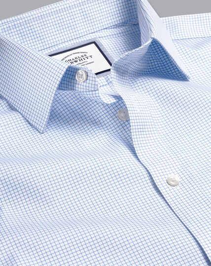Non-Iron Twill Mini Grid Check Shirt - Cornflower Blue