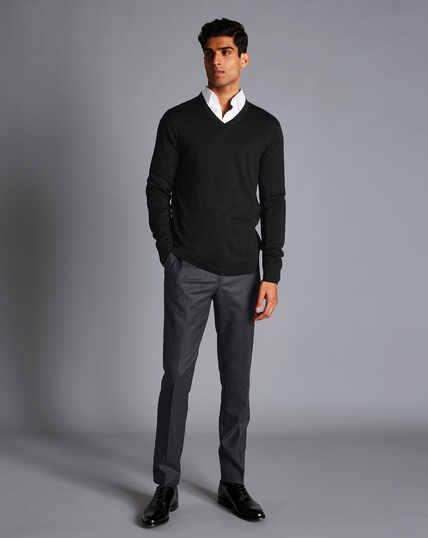 Italian Wool Flannel Trousers - Charcoal