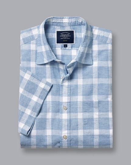 Cotton Linen Short Sleeve Check Shirt - Blue & White