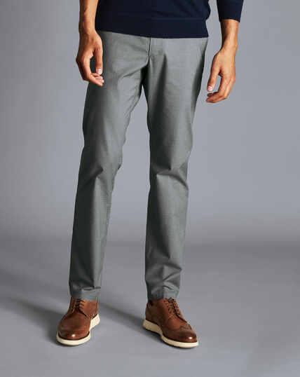 Hose aus Stretch-Baumwolle mit Basketweave-Struktur - Grau