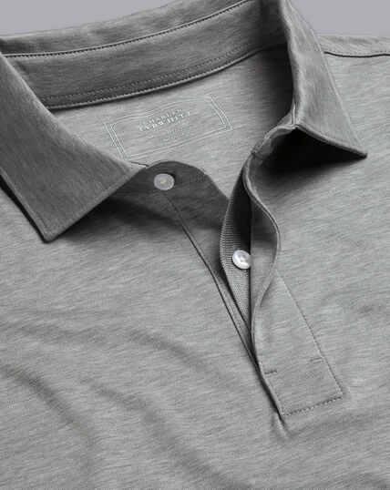 Cotton TENCEL™ Mix Long Sleeve Polo - Silver