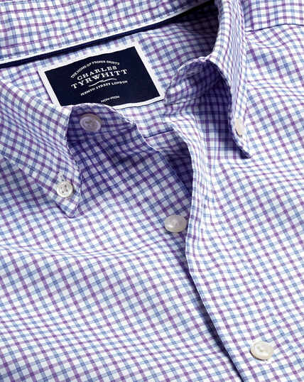 Button-Down Collar Non-Iron Stretch Poplin Check Shirt - Lilac and Sky