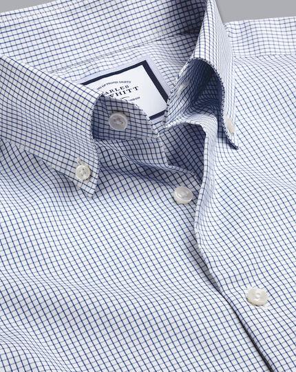Button-Down Collar Non-Iron Small Check Shirt - Royal Blue